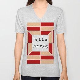 hello world 3 Unisex V-Neck
