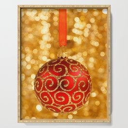 Christmas Bauble on Gold  Serving Tray