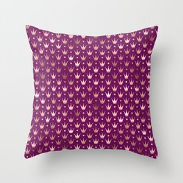 Purple & Rose Gold Crown Pattern Throw Pillow