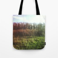 hiking Tote Bags featuring Hiking Rainbow by Sabrina Elewa
