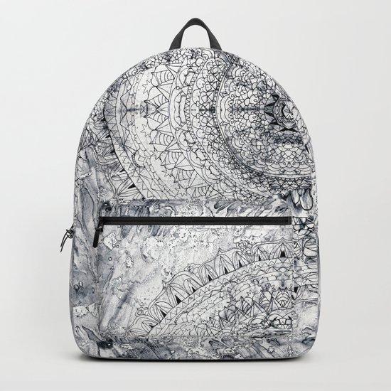 Black&white Mandala - & Grey Blue Backpack