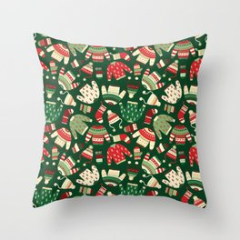 Ugly Christmas Fashion red green white Throw Pillow