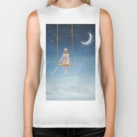 toddler Biker Tanks featuring The lovely girl shakes on a swing by natalia.maroz