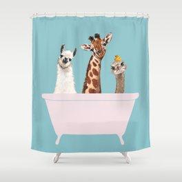 Playful Gangs in Bathtub Blue Shower Curtain