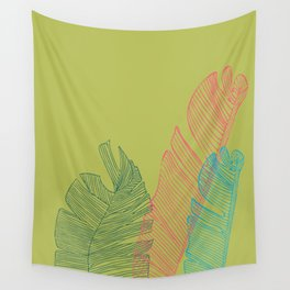 Banana Leaf Trio - lime Wall Tapestry