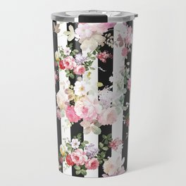 Bold pink watercolor roses floral black white stripes Travel Mug