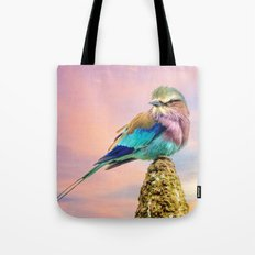 Lilac breasted roller at sunset Tote Bag