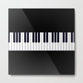 Piano Keys - Black and white simple piano keys pattern minimalistic music themed artwork Metal Print