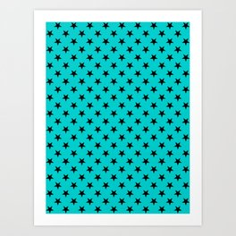Black on Cyan Stars Art Print