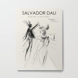 Vintage poster-Salvador Dali-Pencil sketches-Woman. Metal Print