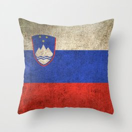 Old and Worn Distressed Vintage Flag of Slovenia Throw Pillow
