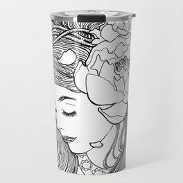 Girl with peonies Travel Mug