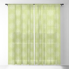 Cartoon Plant Leaf Pattern Sheer Curtain
