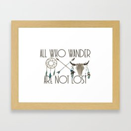 All Who Wander Are Not Lost Native American Dreamcatcher Arrows and Skull Framed Art Print