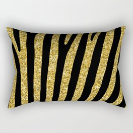 Gold glitter black zebra pattern Rectangular Pillow