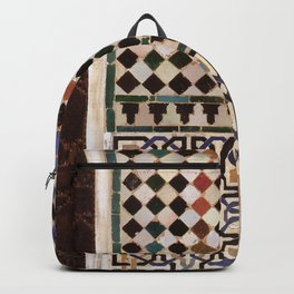 Details in The Alhambra Palace. Gold courtyard Backpack