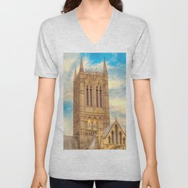 Central Tower of Lincoln Cathedral Unisex V-Neck