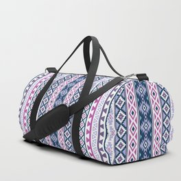 Aztec Stylized Pattern Blues Pinks Purples White Duffle Bag