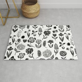 Linocut black and white floral botanical nature art pattern gifts home decor dorm college boho Rug
