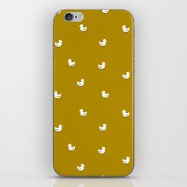 White birds in mustard orange iPhone Skin