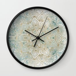 Mandala, Yoga Love, Gold and Teal Wall Clock