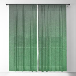 Emerald Green Ombre Design Sheer Curtain