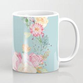 Spring Bouquet Wreath Duck Egg Blue Floral Print Coffee Mug