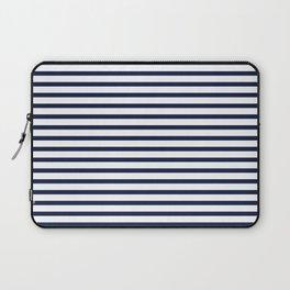 Navy Blue Nautical Stripes Minimal Laptop Sleeve