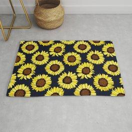 Sunflowers are the New Roses! - Navy Rug
