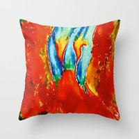 gemini Throw Pillows featuring Gemini by SteeleCat