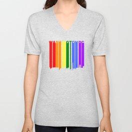 Washington DC Gay Pride Rainbow Cityscape Unisex V-Neck
