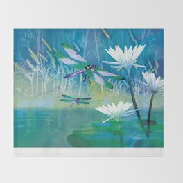 Dragonfly and Blue Pond Throw Blanket