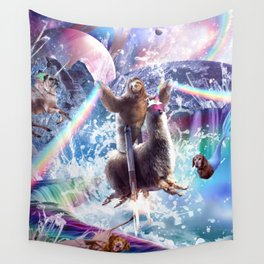 Rainbow Laser Sloth On Llama Unicorn In Space Wall Tapestry