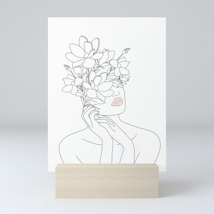 Minimal Line Art Woman with Magnolia Mini Art Print