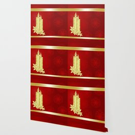 Elegant gold candles on rich red background Wallpaper