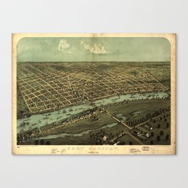 Vintage Pictorial Map of Saginaw Michigan (1867) Canvas Print