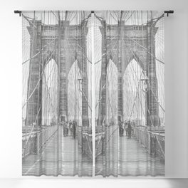 Brooklyn Bridge, New York City (rustic black & white) Sheer Curtain