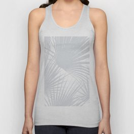 Pale Grey Tropical Leaves Unisex Tank Top