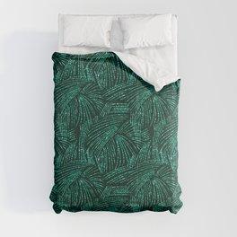 Elegant abstract black emerald green tropical palm tree Comforters