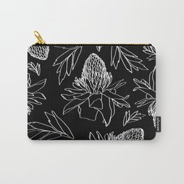 Tropical Ginger Plants in Black + White Carry-All Pouch