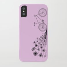 Cycling with flowers iPhone X Slim Case