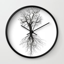 Mulberry tree without leaves with root Wall Clock