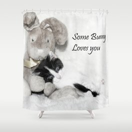 Easter bunny and kitten Shower Curtain