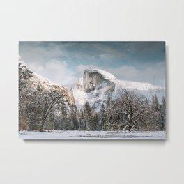 Yosemite's Snow Capped Half Dome Metal Print