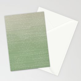 Linen Tan to Sage Green Teardrop Leaf Pattern Ombre Gradient Painted Appearance Stationery Cards