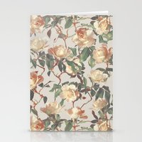 bedding Stationery Cards featuring Soft Vintage Rose Pattern by micklyn
