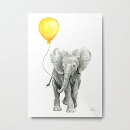 Elephant Watercolor Yellow Balloon Whimsical Baby Animals Metal Print