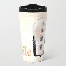 Retro Watercolor Camera SMILE! Travel Mug