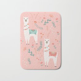 Lovely Llama on Pink Bath Mat