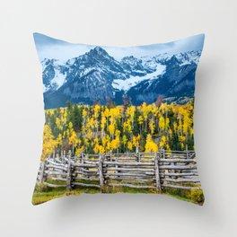 Sneffels Range Ranch in Fall - Ridgway - Colorado Throw Pillow